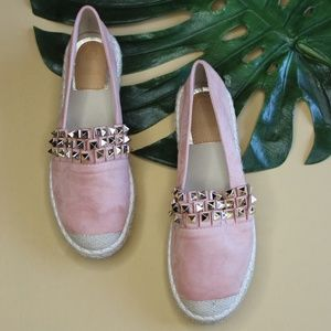 Shoes - 🆕//The Steph// Mauve pink Studded Espadrilles